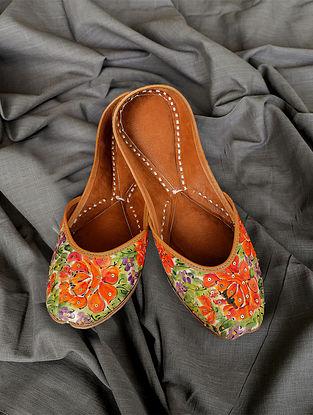 Orange Handpainted Silk Leather Juttis