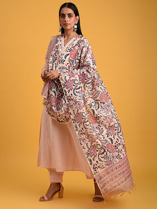Peach Block Printed Chanderi Dupatta
