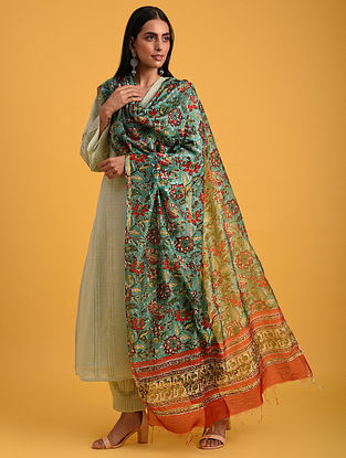 Green Block Printed Chanderi Dupatta