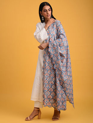 Blue Block Printed Cotton Dupatta