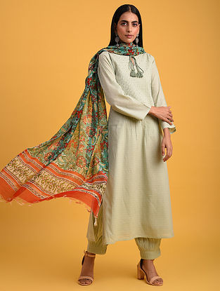 Pastel Green Cotton Lurex Kurta with Sequin Work
