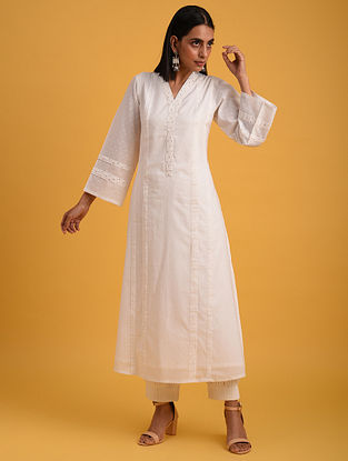 Off White Cotton Lurex Kurta with Sequin Work