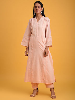 Pastel Pink Cotton Lurex Kurta with Sequin Work