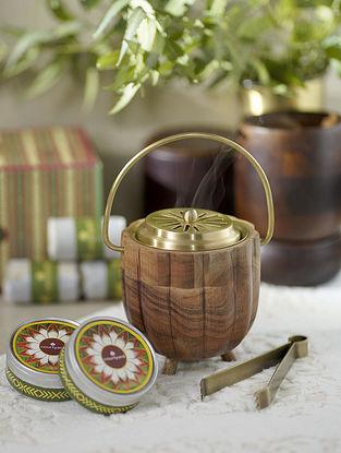 Brass & Brown Kangra Fumer Gift Box (Dia - 3.54in ,H - 5in)