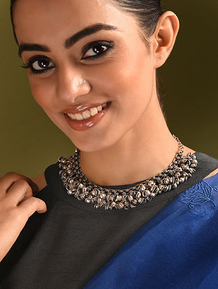 Silver Tone Tribal Choker Necklace With Ghungroo