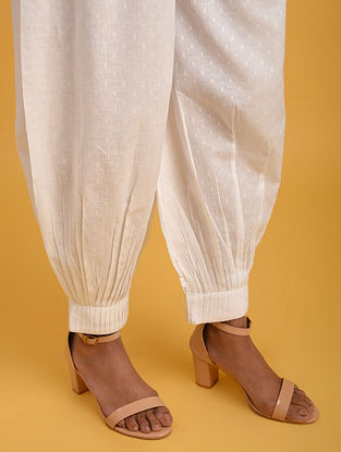 Off White Cotton Lurex Pants