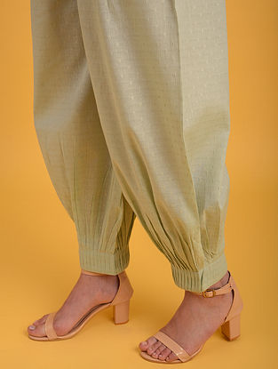 Pastel Green Cotton Lurex Pants