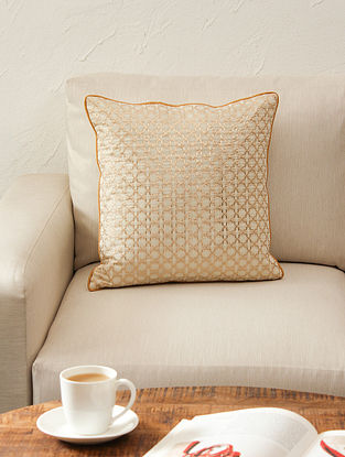 White & Gold Cushion Cover (L - 16in ,W - 16in)