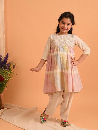 Multicolored Block Printed Cotton Kurta with Salwar