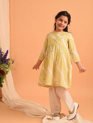 Lemon Yellow Block Printed Cotton Kurta and Salwar