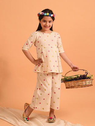 Off White Block Printed Cotton Tunic with Pants