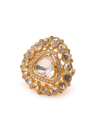 Gold Plated Adjustable Silver Polki Ring