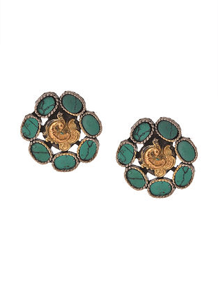 Dual Tone Silver Earrings with Turquoise