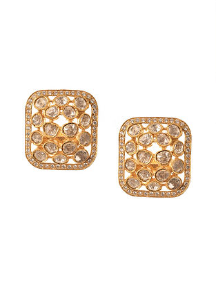 Gold Plated Silver Polki Earrings