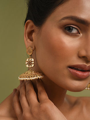 Gold Plated Silver Polki Jhumki Earrings