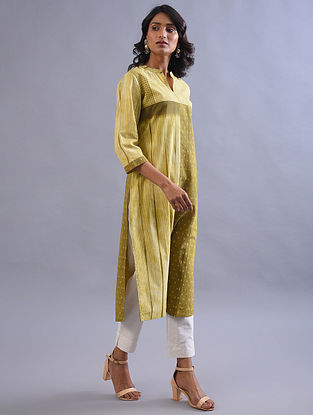 Khaki Shibori Cotton Kurta