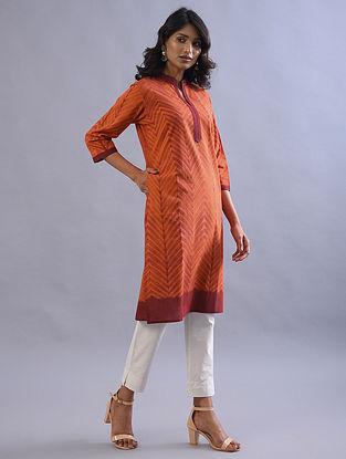 Orange and Maroon Shibori Cotton Kurta
