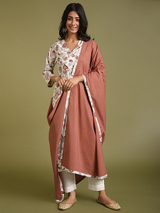 Red Cotton Kurta with Pants and Dupatta