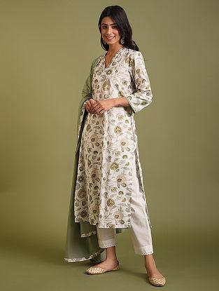 Green Cotton printed  Kurta with Pants and Dupatta