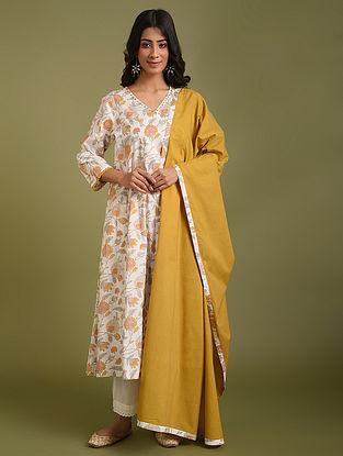 Yellow Angrakha Kurta with pants and Dupatta