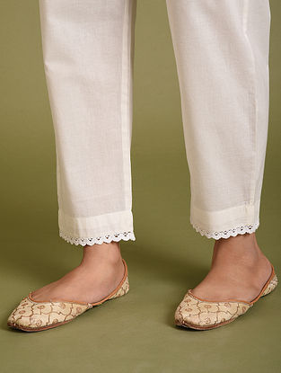 White Cotton Pants with Lace Detailing