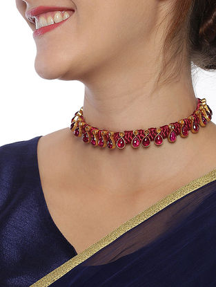 Pink Gold Plated Kundan Silver Necklace