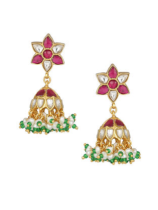 Pink Green Gold Plated Kundan Silver Jhumki Earrings