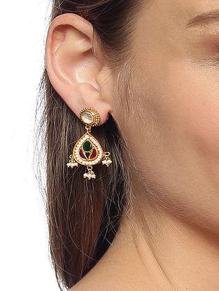 Pink Green Gold Plated Kundan Silver Earrings