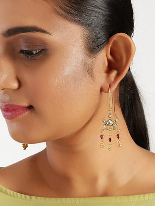 Pink Gold Plated Kundan Silver Earrings