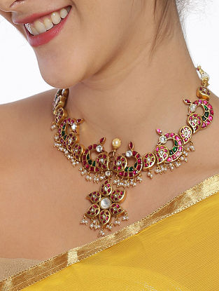 Pink Green Gold Plated Kundan Silver Necklace