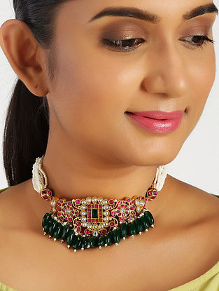 Pink Green Gold Plated Kundan Silver Necklace with Pearls