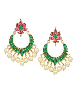 Pink Green Gold Plated Kundan Silver Earrings with Pearls