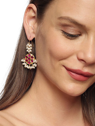 Red Gold Plated Kundan Silver Earrings
