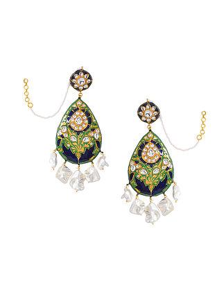 Green Blue Gold Tone Enameled Kundan Earrings With Ear Chains