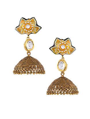 Blue Gold Tone Enameled Jhumki Earrings