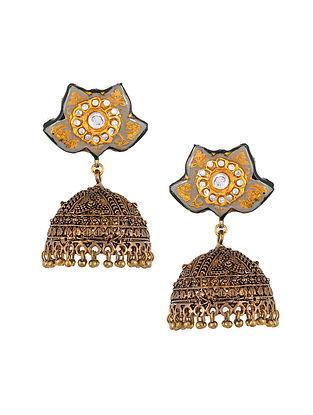 Grey Gold Tone Kundan Enameled Jhumki Earrings