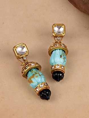 Gold Polki Earrings with Turquoise