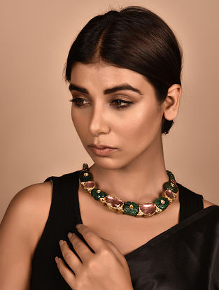 Gold Polki Necklace with Emerald and Tourmaline