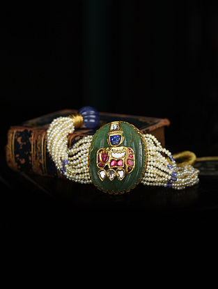 Gold Polki Bracelet with Emerald and Ruby