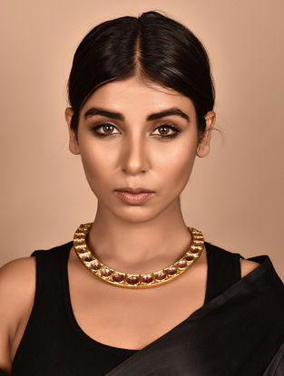 Gold Polki Necklace with Tourmaline