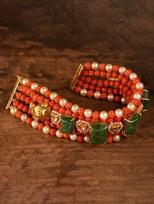 Gold Polki Bracelet with Emerald and Coral