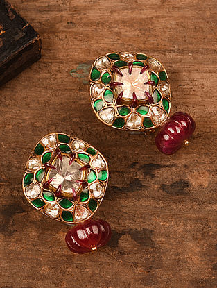 Gold Polki Earrings with Ruby and Emerald