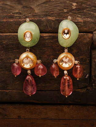 Gold Polki Earrings with Emerald and Tourmaline