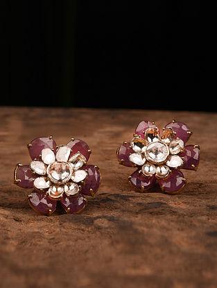 Gold Polki Earrings with Tourmaline