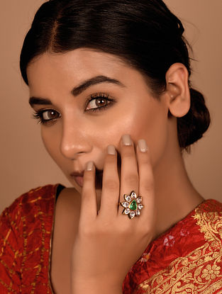 Gold Polki Adjustable Ring with Emerald