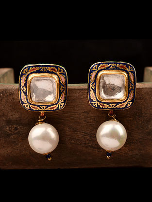 Gold Polki Earrings with South Sea Pearls