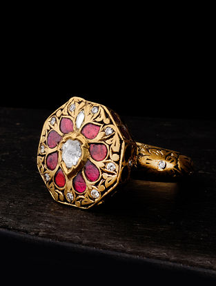 Gold Polki Ring with Ruby (Size: 13)