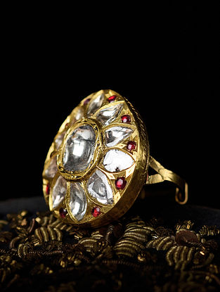 Gold Polki Adjustable Ring with Ruby