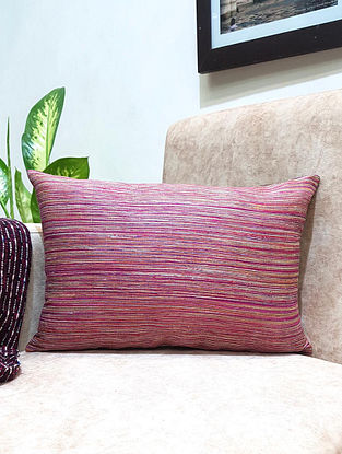 Pink Handwoven Silk Pin Stripes Cushion Cover (L - 18in ,W - 12in)