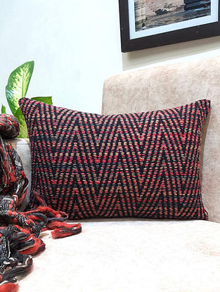 Natural Black Shaded Raw Silk Cushion Cover (L - 18in ,W - 12in)